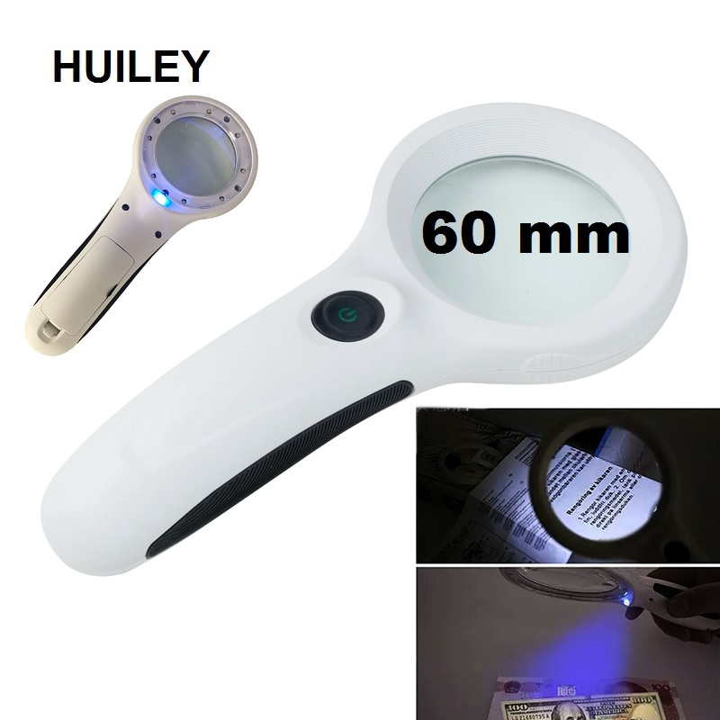 Handheld UV LED Illuminated Magnifier with Anti skid Handle LED UV Light Magnifying Glass for Reading and Currency Detecting 4X in Magnifiers from Tools