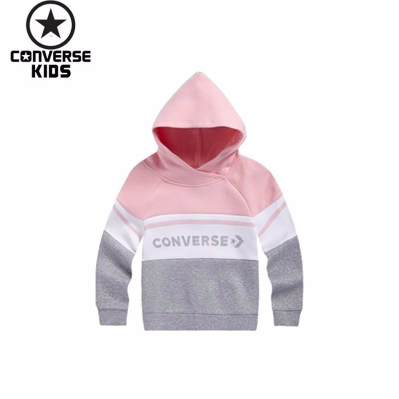 CONVERSE Children's Garment Girl Autumn Clothing Even Hoodie Woman Baby Pullover Sweater #83122HO413 side slit fleece drop shoulder pullover hoodie