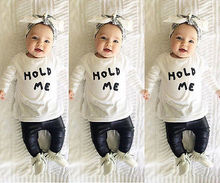 2016 Newborn Baby Boys Girls Toddler Kids Letter Printing T-shirt Tops+ leather Pants Outfit 2pcs Set Clothing Clothes 2019 autumn winter costume for kids newborn baby girl clothes toddler shirt bib pants overalls 2pcs outfit kids girls clothing set