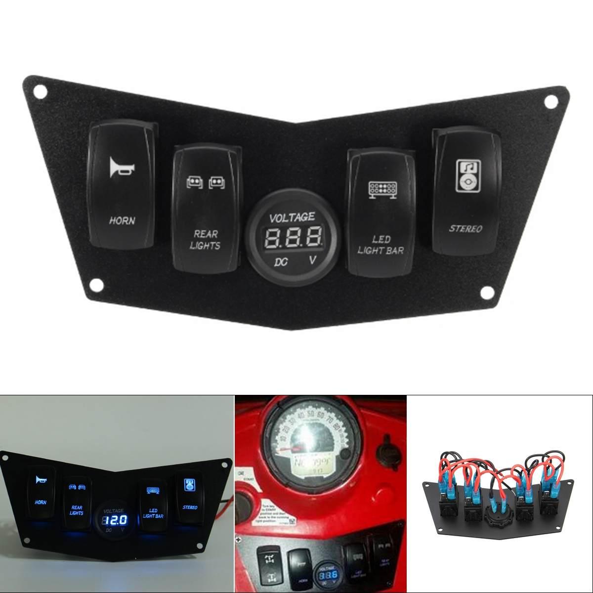 Nouveau 12-24 V avant 4 interrupteur à bascule numérique Volt tableau de bord pour Polaris Ranger RZR 800 S 900XP XP900 570 2008-2014 ATV UTV
