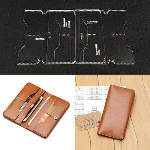Image 1 - Pratik akrilik cüzdan kart çantası şeffaf şablonları deri el sanatları desen şablon tasarım yapmak için iş uzun cüzdan