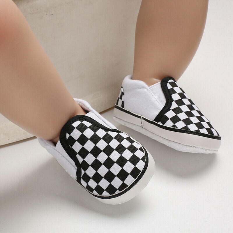 Newborn Baby Boy Girl Crib Pram Shoes Prewalker Soft Sole Slippers Trainers 0-18 Plaid Shallow Canvas Soft  Anti-slip Sneaker(China)