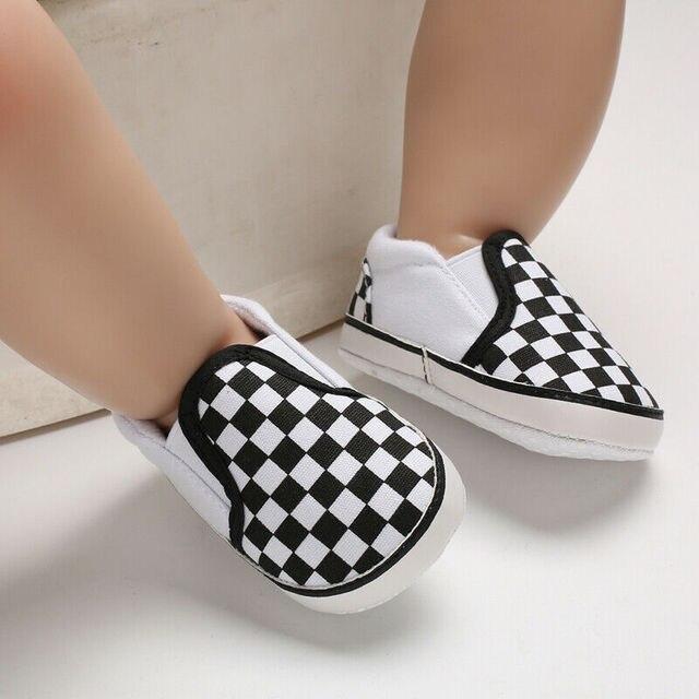 Sơ sinh Bé Trai Gái Cũi Pram Giày Prewalker Đế Mềm Dép Huấn Luyện Viên 0-18 Kẻ Sọc Nông Vải Canvas Mềm Chống chống trượt Giày Sneaker