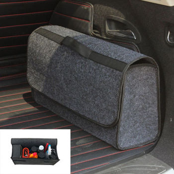 Car Trunk Organizer Foldable Storage Bag Box Cargo Portable Gray Woolen Felt collapsible car compartment trunk bag felt organizer suv multipurpose storage gray