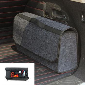 Organizador de maletero de coche bolsa de almacenamiento plegable portátil de carga fieltro de lana gris