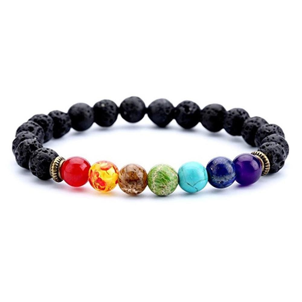7 Chakra Beaded Bracelet Men Natural Lava Stone Healing Balance Beads Reiki Buddha Prayer Yoga Diffuser Bracelet Women Jewelry