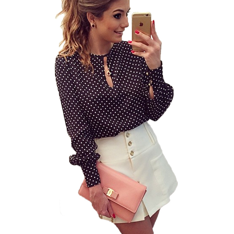 Summer Autumn Women Tops Long Sleeve Casual Polka Dot Chiffon Blouse Female O-Neck  Vintage Elegant Hollow Out Shirt Plus Size