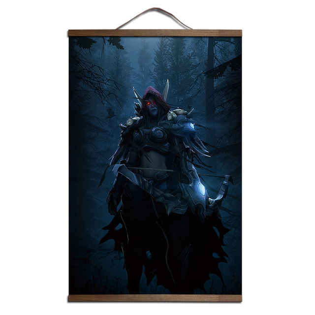 poster for World of Warcrafts Sylvanas Windrunner canvas prints posters decoration painting with solid wood hanging scroll
