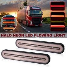Пара Водонепроницаемый светодиодный прицеп грузовика тормозной неоновый свет Halo Кольцо хвост и тормозной Стоп Включите свет последовательного течет сигнал свет лампы
