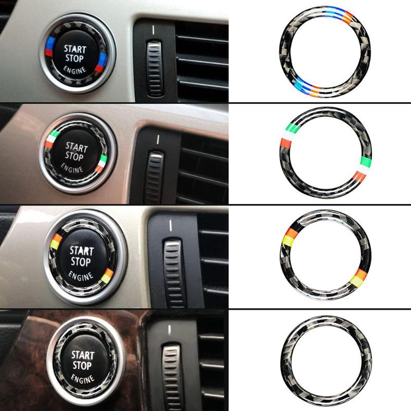 Image 2 - VODOOL 32.5mm OD Carbon Fiber Car Engine Start Stop Button Ring Trim Auto Car Starting Button Decoration For BMW E90 E92 E93-in Interior Mouldings from Automobiles & Motorcycles