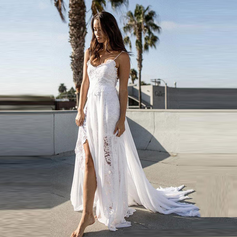 Wedding-Dress Spaghetti-Straps Boho Sexy Beach Robe-De-Mariee Chiffon Split See-Through