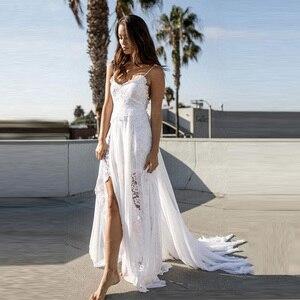 Image 1 - Пляжное свадебное платье, Прозрачное Платье De Mariee, сексуальное шифоновое платье с разрезом, свадебное платье в стиле бохо на тонких бретелях, 2019