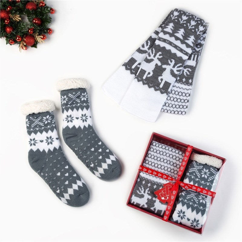 Gift Set KAFTAN Winter decorative pattern Scarf 145*14 cm, Socks p-p 36-40 stylish big stripe pattern fringed edge multifunctional scarf for women