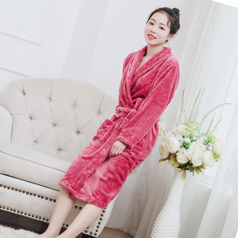 535cefd54a Women Flannel Robe Nightgown 2018 Autumn Winter Coral Bathrobe Thicken Warm  Female Bath Robe Sleepwear-in Robes from Underwear   Sleepwears on ...