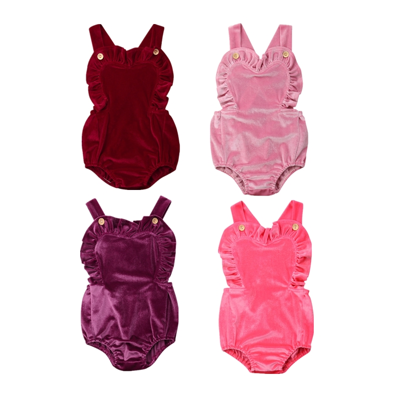 2019 Hot Newborn Infant Baby Girl Ruffles Velvet Backless   Romper   Playsuit Sunsuit Clothes Kids Summer   Rompers   Jumpsuit Outfits