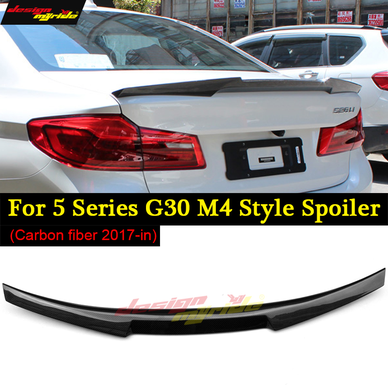 for BMW <font><b>G30</b></font> spoiler Rear wing tail M4-style carbon fiber <font><b>G30</b></font> <font><b>520i</b></font> 520d 530i 530d 540i 550i Rear Spoiler Rear Trunk Wing 2017+ image