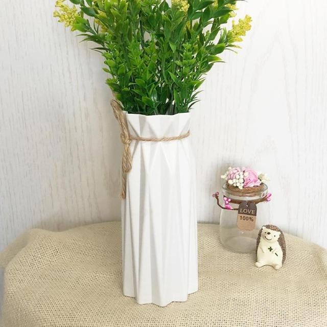 Origami Plastic Vase White Imitation Ceramic Flowerpot Flower Basket Artificial Flower Arrangement Container Home Decoration