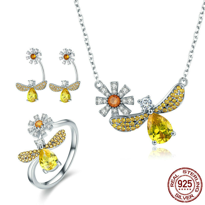 Real 925 Sterling Silver Yellow Crystal Dargonfly Necklaces Rings Jewelry Sets For Women Sterling Silver Jewelry Zhs068 BAMOERReal 925 Sterling Silver Yellow Crystal Dargonfly Necklaces Rings Jewelry Sets For Women Sterling Silver Jewelry Zhs068 BAMOER