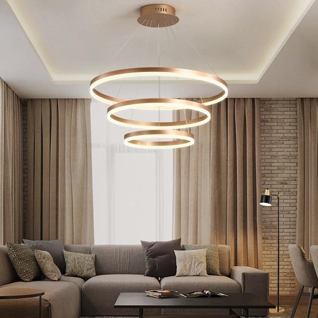 Postmodern gold led annulus pendant light led fixtures for study reading room cord pendant commercial lighting 1-3 pcs led rings