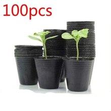 100 uds, maceta pequeña de terracota, maceta de cerámica, maceta de Cactus para flores, macetas suculentas, macetas negras para el jardín del hogar