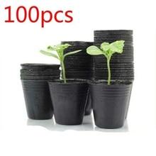100Pcs Small Mini Terracotta Pot Clay Ceramic Pottery Planter Cactus Flower Pots Succulent Nursery Pots Black Home Garden Decor