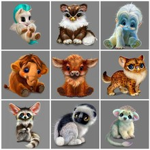 Huacan Diamond Painting Animals Cross Stitch Kit Square Embroidery Cartoon DIY Mosaic Crafts Gift