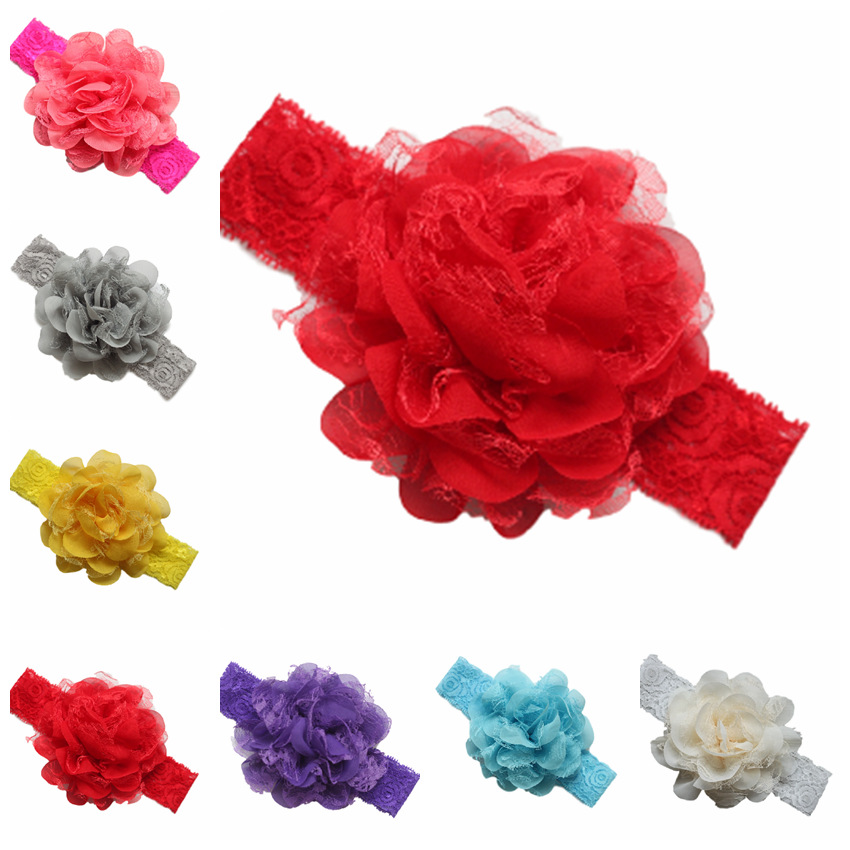 2016 New girls Chiffon flower hair ribbon Lace ornaments elastic newborn baby headbands children hair accessories 100pcs/lot