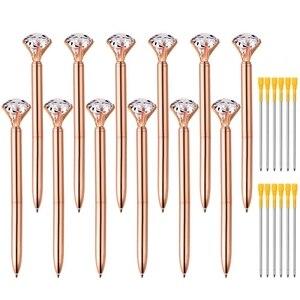 Image 1 - 12 Pieces Big Diamond Crystal Ballpoint Pens And 12 Pieces Ballpoint Pen Refills,Black Ink(Rose Gold)