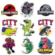 Pulaqi Cartoon Jurassic Park Sticker Iron On Dinosaur Patches Heat Thermal Transfer For Man T-shirt Clothes Garment Accessory H