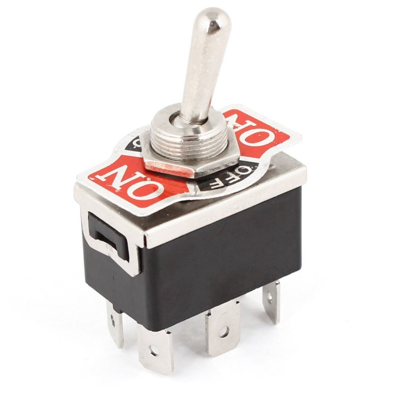 AC 250V/<font><b>10A</b></font> 125V/15A DPDT <font><b>3</b></font> Position ON/OFF/ON 6 Pins Toggle Switch Black+Silver image