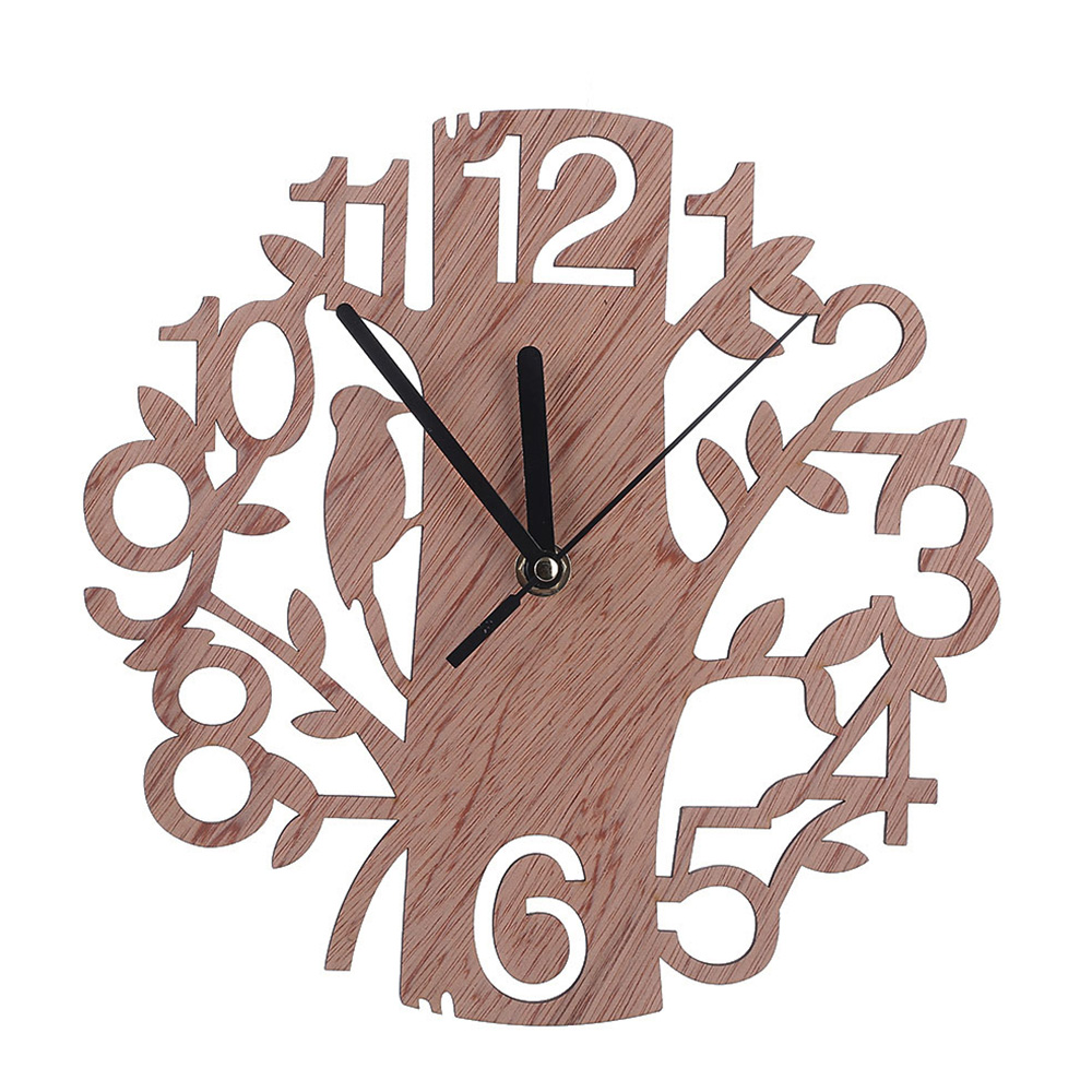 Hollow Tree Decoration Round Wooden Out Wall Clock Living Room Home Office Ornament Gift Wall Watch