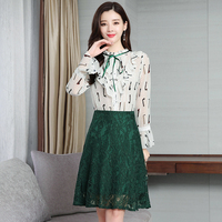 2019 spring blouse top lace skirt spring two piece clothing set French fashion women vogue suit clothing set green skirts S XXL