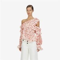 2019 Spring Sexy Irregular Shirt Tops Elegant Womens Red Floral Printed Blouses
