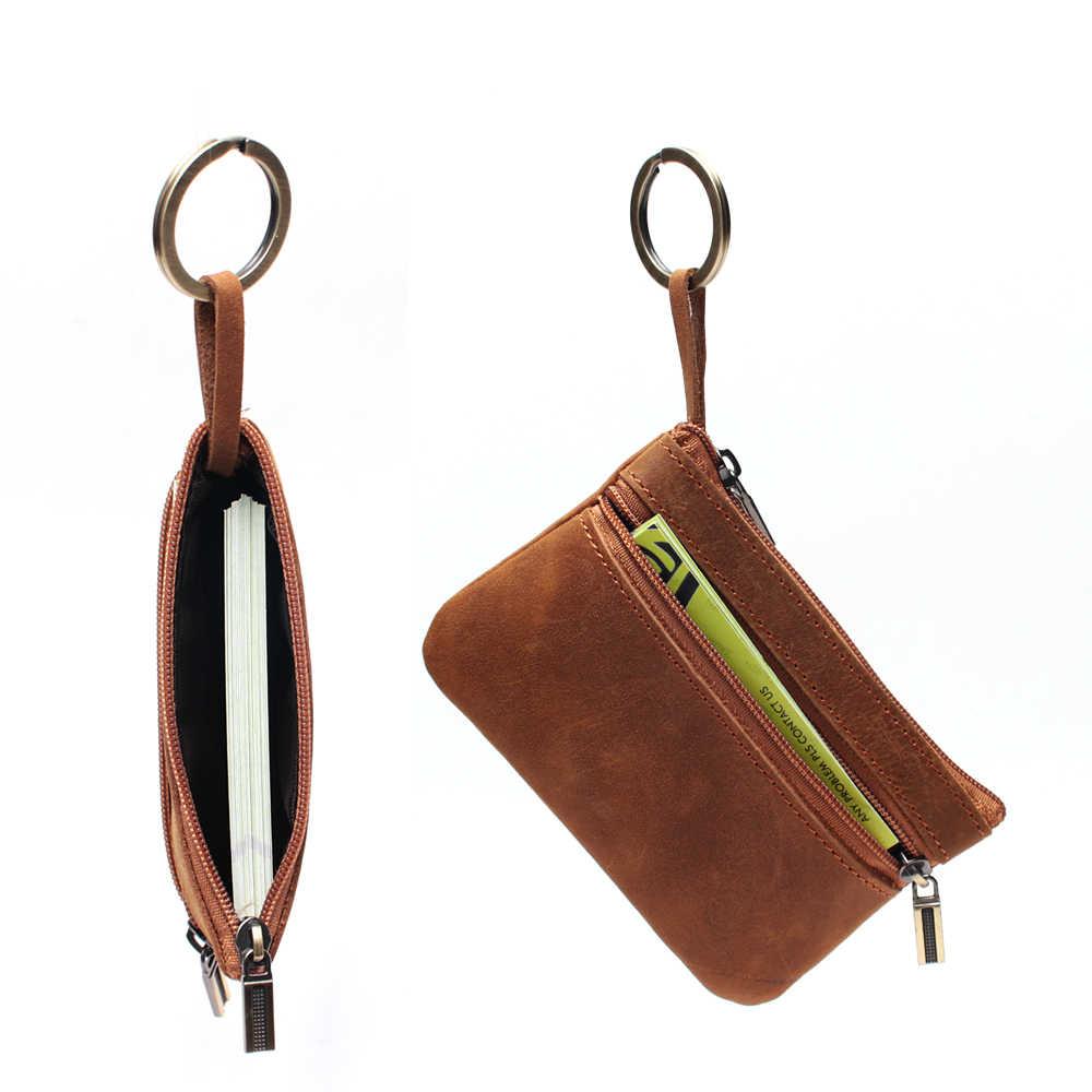 100% جلد طبيعي محفظة صغيرة صغيرة سستة لينة المحافظ أكياس رئيسية للجنسين محفظة نسائية للعملات المعدنية هدية للجيب المال رقيقة محافظ