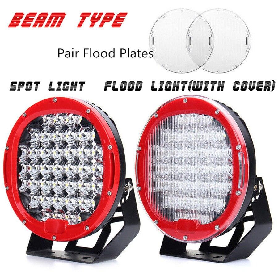 9 370W PAIR 37LED Work Light Driving Lamp Spot Lamp+Flood Cover+ON/OFF Switch ,12V 24V Led Off Road Light for SUV ATV UTV Lamp