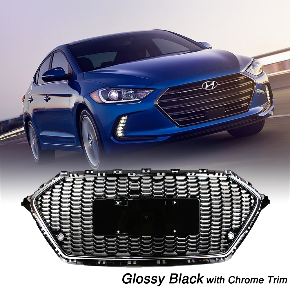 Front Bumper Grille For Hyundai Elantra AD 2017 2018 Honeycomb Mesh Glossy Black Chrome Trim