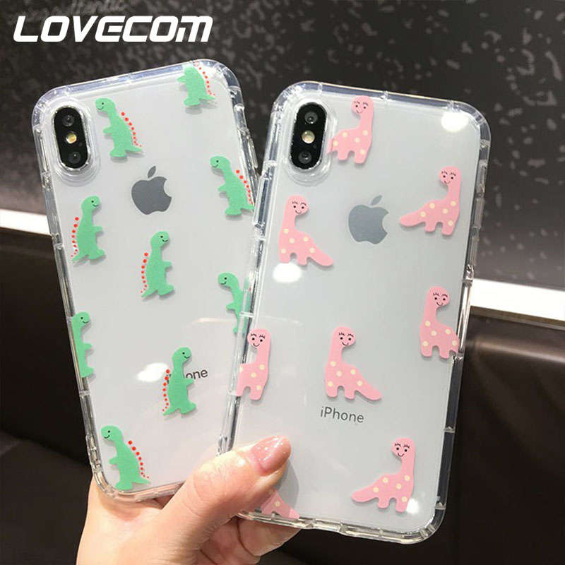 LOVECOM Cute Cartoon <font><b>Dinosaur</b></font> <font><b>Cases</b></font> For <font><b>iPhone</b></font> 11 Pro Max XS Max XR XS X 6 6S <font><b>7</b></font> 8 Plus Soft TPU Transparent Phone Back Cover Coq image