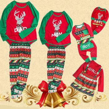 Christmas Family Women Men Kids Baby Sleepwear Pajamas Set Deer Cotton Pyjamas Outfits New Casual Xmas PJS Sets