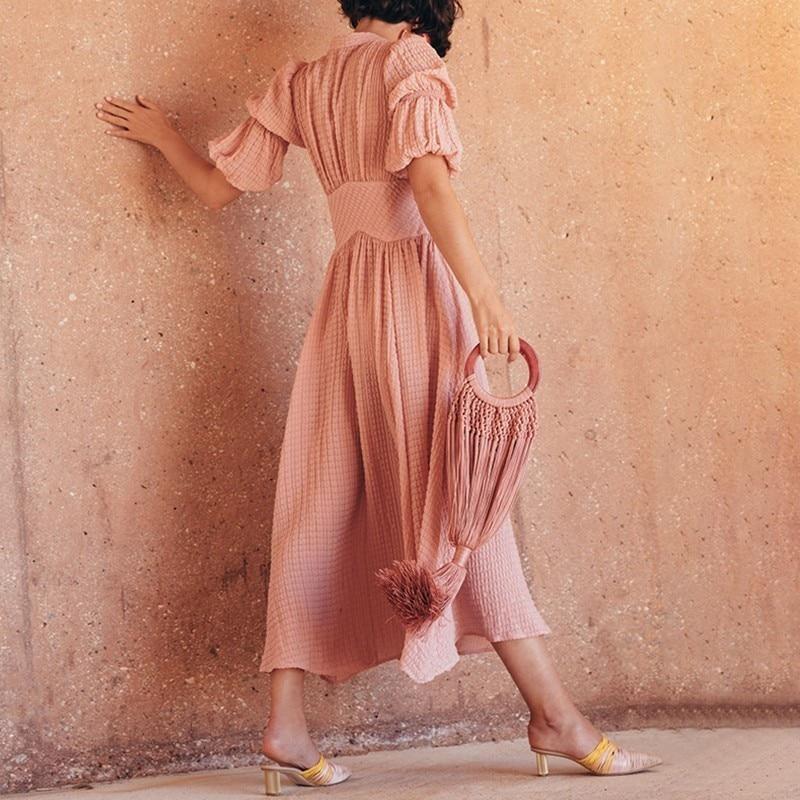 TWOTWINSTYLE elegante sólido vestido de mujer cuello pico linterna alta cintura botón Ruched Midi vestidos moda femenina 2019 primavera nuevo-in Vestidos from Ropa de mujer    2
