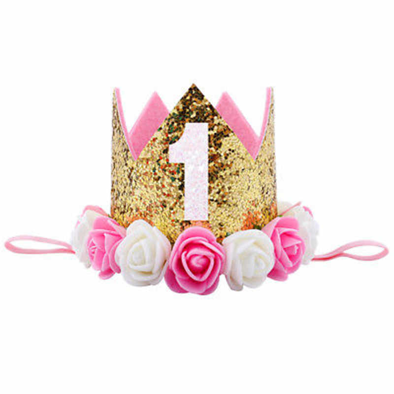 692f50e5760 Hot Kids Baby 1st Birthday Hat Glitter Crown Flower Head Hair Band Party  Headwear Sequined Princess