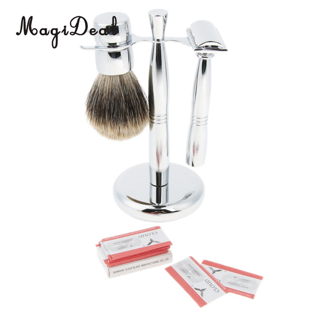 Bathroom Shaving Brush + Metal Stand Holder + Shaver Safety Razor + 10 Blades Set Kit for Men Barber mens badger shaving brush stand razor holder and double head safety straight razor