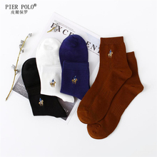 Fashion Calcetines Hombre 4 Pairs/lot Pier Polo Brand Men Grew Socks Embroidery Winter Man Cotton High Quality Sheer Mens