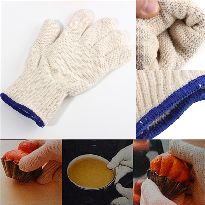Image 3 - High Quality Thicken Double Cotton 500 Celsius Super Heat Resistant Anti Burn Heatproof Gloves Oven Kitchen White-in Safety Gloves from Security & Protection