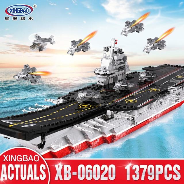 XINGBAO 06020 New 1355PCS Military Series The Aircraft Ship Set Building Blocks Bricks Toys Educational Kids Toys Gifts Models