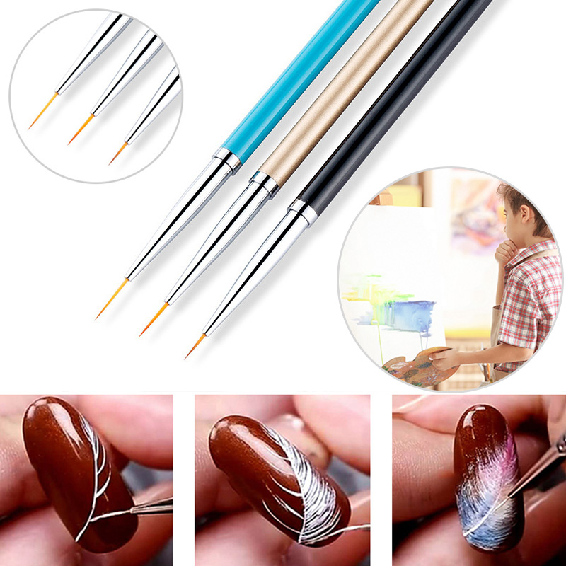 3pcs/set Fine Nylon Hair Acrylic Handle Nail Paint Brush School Artist Watercolor Acrylic Painting Paint Brushes School Supplies