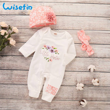 Newborn Baby Girl Romper Long Sleeve Baby Rompers Winter Baby Girls Clothes Toddler Girl Romper Infant Jumpsuit 3Pcs Set P30 цены онлайн