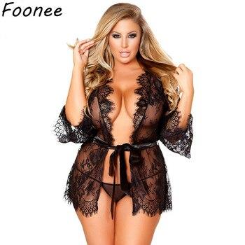 956d899aae69 Lencería Sexy de encaje Sexy talla grande erótica transparente mujeres  Babydoll vestido disfraz Mini ropa interior abierta ropa de dormir 5XL 6XL  7XL