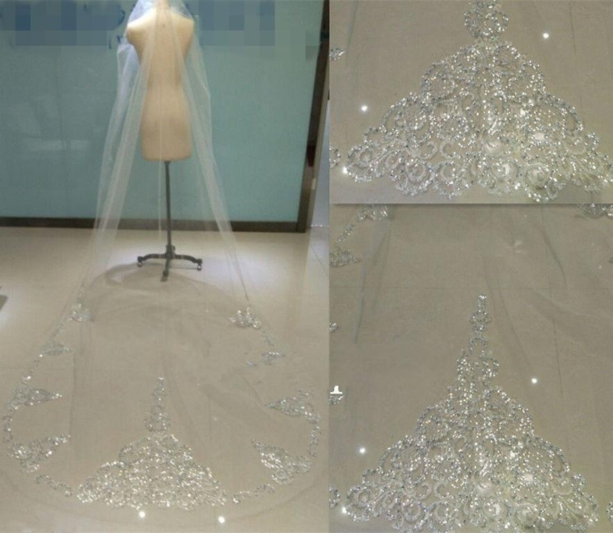 1t 3M Cathedral Lace Bridal Wedding Veil White Ivory Rhinestone Sequins Bling bride veil Comb