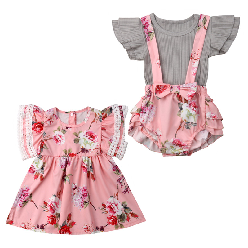 Family Matching Outfits Toddler Baby Girl Floral Dress Infant Romper Overall Tops+Bib Shorts Set