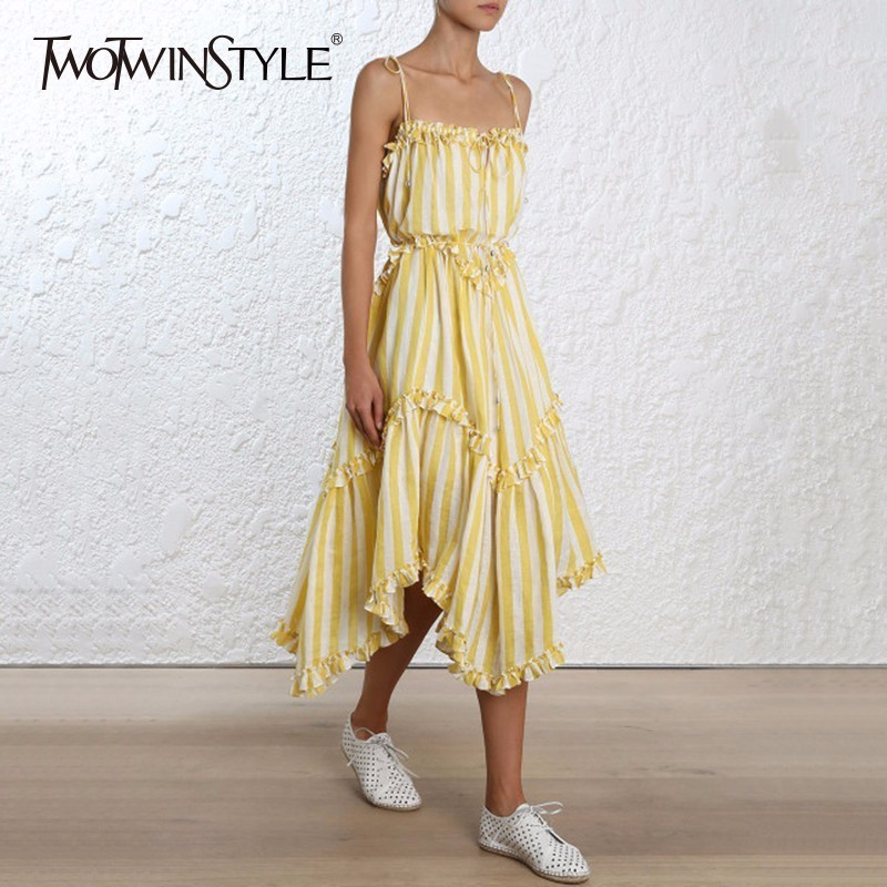 TWOTWINSTYLE Striped Dress Lace Up Backless Ruffles Patchwork Irregular Draped Long Spaghetti Strap Dresses 2019 Summer